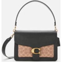Coach Women's Coated Canvas Signature Mixed Leather Tabby Shoulder Bag - Tan Black