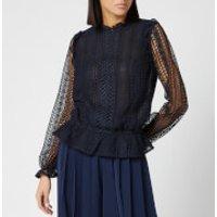 Ted Baker Women's Cosmee Zip Up Woven Front Top - Dark Blue - UK 16