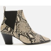 Ted Baker Women's Rilans Snake Print Western Style Ankle Boots - Natural - UK 6