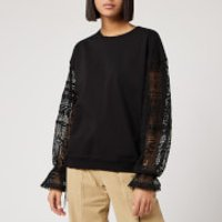 See By Chloe Women's Lace Sleeve Sweatshirt - Black - XL