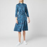 Joules Women's Winslet Long Sleeve Shirt Dress - Teal Blossom - UK 14