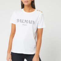 Balmain Women's Short Sleeve 3 Button Vintage Logo T-Shirt - White/ Black - L