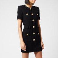 Balmain Women's Short Sleeve Buttoned Tweed Dress - Black - FR 36/UK 8
