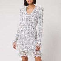 Balmain Women's Short Long Sleeve Fringed Tweed Wrap Dress - Black/White - FR 42/UK 14