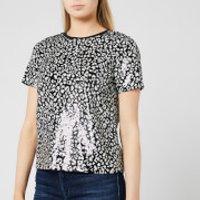 MICHAEL MICHAEL KORS Women's Lux Cat Sequin Baby T-Shirt - Black/Bone - S