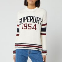 Superdry Women's Intarsia Slouch Knitted Jumper - Cream - UK 16
