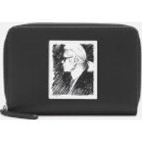 Karl Lagerfeld Legend Collection Women's Karl Legend Medium Zip Wallet - Black