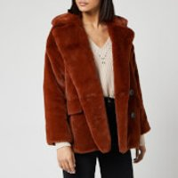 Free People Women's Solid Kate Faux Fur Coat - Terracotta - L