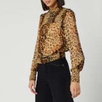 Free People Women's Roma Blouse - Brown Leopard - L