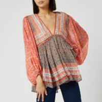 Free People Womens Aliyah Printed Tunic Top - Pink - XS