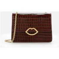 shop for Lulu Guinness Women's Cut Out Lip Croc Polly Shoulder Bag - Chocolate at Shopo