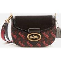 Coach 1941 Women's Coated Canvas Mixed Leather Kat Saddle Bag - Black