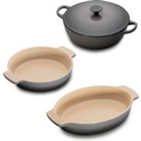 Le Creuset Classic Cast Iron and Stoneware 3 Piece Dish Set - Flint
