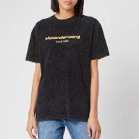 Alexander Wang Women's Acid Wash Short Sleeve T-Shirt with Logo Embroidery - Acid Black - M