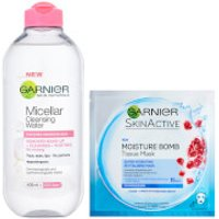 Garnier Micellar Water Sensitive Skin and Hydrating Face Sheet Mask for Dehydrated Skin Kit Exclusive
