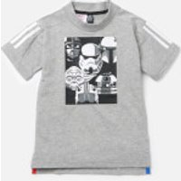 adidas Boys Star Wars Short Sleeve T-Shirt - Medium Grey Heather - 7-8 Years