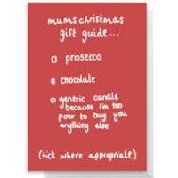 Mum's Christmas Guide Greetings Card - Large Card
