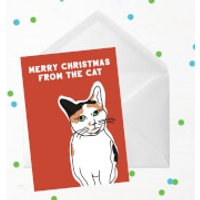 Merry Christmas From The Cat Greetings Card - Giant Card