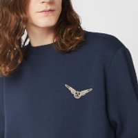 Harry Potter Golden Snitch Unisex Embroidered Sweatshirt - Navy - 5XL - Navy - Harry Potter Gifts