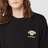 Harry Potter Slytherin Unisex Embroidered Sweatshirt - Black - XXL - Black - Harry Potter Gifts