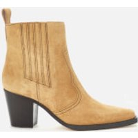 Ganni Women's Western Suede Heeled Boots - Tannin - UK 6