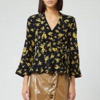 Ganni Women's Floral Printed Crepe Blouse - Black - EU 36/UK 8