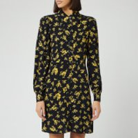 Ganni Women's Floral Printed Crepe Collar Mini Dress - Black - EU 40/UK 12
