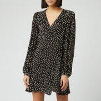 Ganni Women's Spot Printed Georgette Mini Dress - Black - EU 40/UK 12