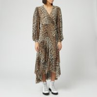 Ganni Women's Printed Mesh Wrap Dress - Leopard - EU 34/UK 6