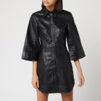 Ganni Women's Leather Shirt Dress - Black - EU 34/UK 6