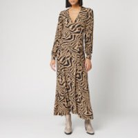 Ganni Women's Printed Crepe Zebra Wrap Dress - Tannin - EU 36/UK 8
