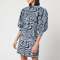 Ganni Women's Printed Cotton Poplin Zebra Shirt Dress - Forever Blue - EU 40/UK 12
