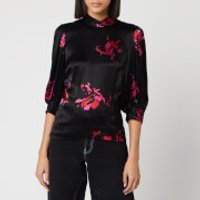 Ganni Women's Heavy Satin Floral Blouse - Black - EU 42/UK 14