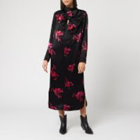 Ganni Women's Heavy Satin Floral Dress - Black - EU 42/UK 14