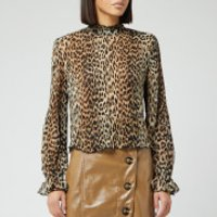 Ganni Women's Pleated Georgette Top - Leopard - EU 40/UK 12