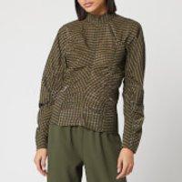 Ganni Women's Seersucker Check Ruched Sleeve Top - Kalamata - EU 36/UK 8