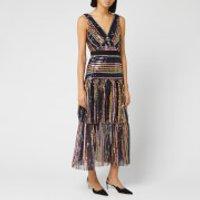 Self-Portrait Women's Stripe Sequin Midi Dress - Multi -  UK 8