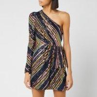 Self-Portrait Women's Stripe Sequin Asymmetric Mini Dress - Multi -  UK 8