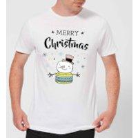 Merry Christmas Snowman Men's T-Shirt - White - S - White