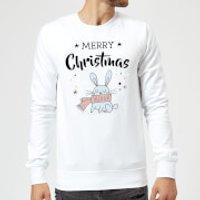 Merry Christmas Rabbit Sweatshirt - White - S - White