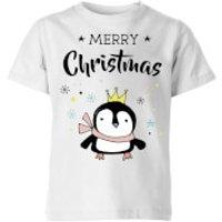 Merry Christmas Penguin Kids' T-Shirt - White - 3-4 Years - White