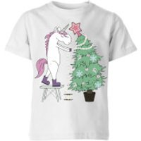Unicorn Decorating The Christmas Tree Kids' T-Shirt - White - 11-12 Years - White - Decorating Gifts