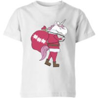 Unicorn Santa Kids' T-Shirt - White - 11-12 Years - White