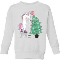 Unicorn Decorating The Christmas Tree Kids' Sweatshirt - White - 11-12 Years - White - Decorating Gifts