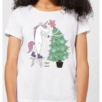 Unicorn Decorating The Christmas Tree Women's T-Shirt - White - 5XL - White - Decorating Gifts