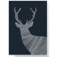 Aztec Night Reindeer Greetings Card - Large Card