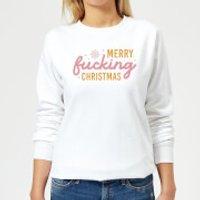 Cross Stitch Merry Fucking Christmas Women's Sweatshirt - White - XXL - White