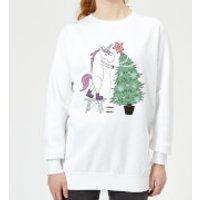 Unicorn Decorating The Christmas Tree Women's Sweatshirt - White - 5XL - White - Decorating Gifts
