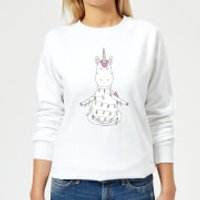 Unicorn Wrapped In Christmas Lights Women's Sweatshirt - White - L - White