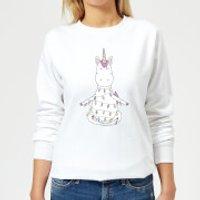 Unicorn Wrapped In Christmas Lights Women's Sweatshirt - White - L - White